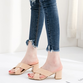 Ericdress Cross Straps Slip-On Chunky Heel Mules Shoes
