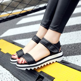 Ericdress Hollow Platform Velcro Ankle Strap Flat Sandals