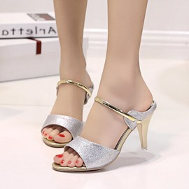 Ericdress Sequin Flip Flop Stiletto Heel Mules Shoes