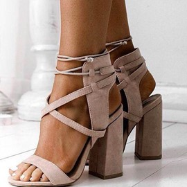 Ericdress Plain Lace-Up Ankle Strap Chunky Sandals