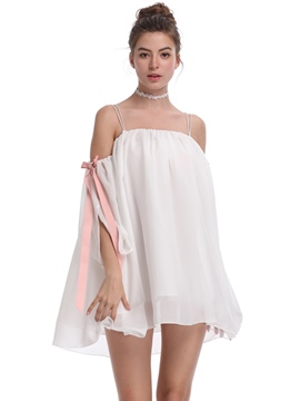 Ericdress White Lace-Up Above Knee Pullover Casual Dress