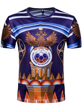Men's Clothing Blue World Cup Printed Scoop T Shirt