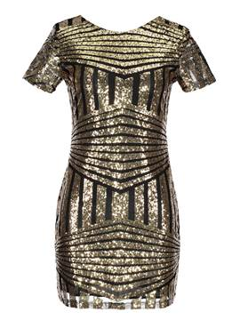 Ericdress Backless Sequins Cap Sleeve Bodycon Dress