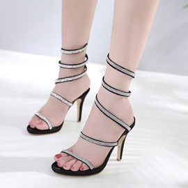 Ericdress Rhinestone Ankle Strap Plain Stiletto Sandals