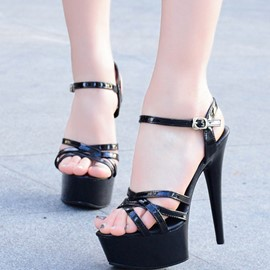 Ericdress Plain Platform Ankle Strap Stiletto Sandals