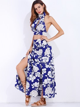 Ericdress Backless Vest and Skirt Women's Two Piece Set