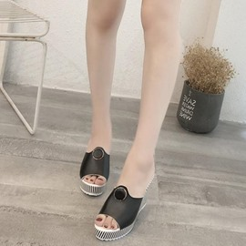 Ericdress Stripe Flip Flop Wedge Heel Mules Shoes