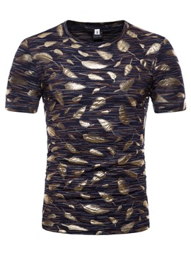 ericdress goldener Federdruck lose Mens Scoop T-Shirt