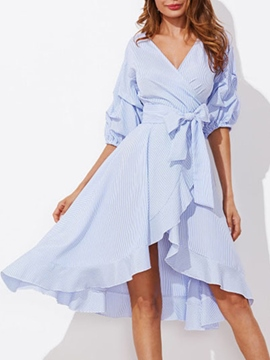 Ericdress Heap Sleeve V-Neck Lace-Up Casual Dress