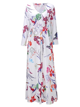Ericdress V-Neck Floral 3/4 Length Sleeves Casual Dress
