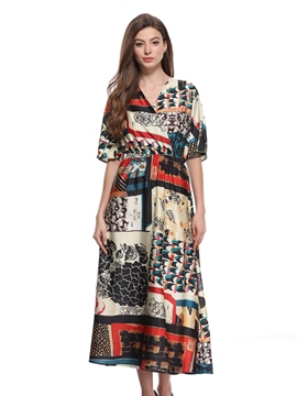 Ericdress V-Neck Floral Half Sleeves A-Line Dress
