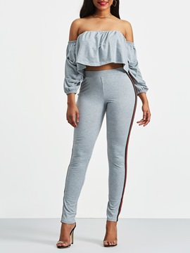 Ericdress Off the Shoulder T-Shirt and Pants Women's Two Piece Set