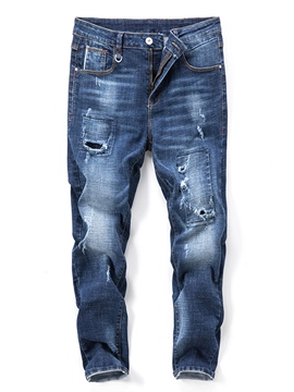 Ericdress Micro Elastic Ripped Mens Pencil Jeans