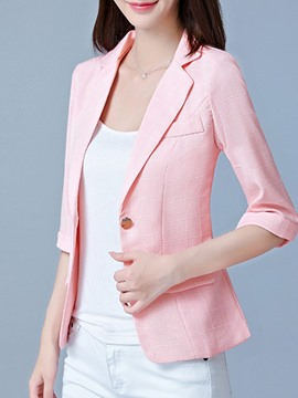 ericdress Slim-Button-Patchwork-Blazer