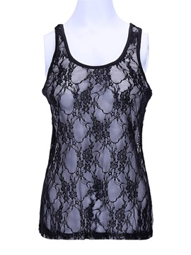 Ericdress Slim Patchwork Lace Slim Vest