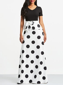 Ericdress White Polka Dots V-Neck Color Block Maxi Dress
