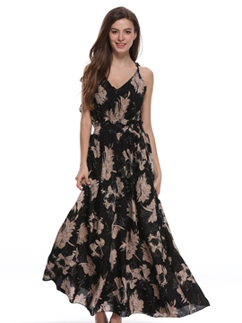 Ericdress Floral V-Neck Backless Lace-Up Casual Dress