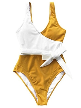 Ericdress Yellow Color Block High Waist One Piece Bathing Suits
