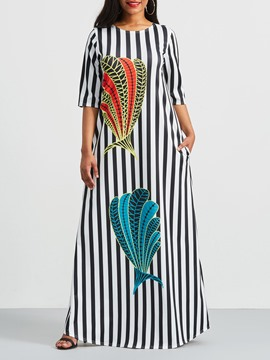 Ericdress Stripe Color Block Print Casual Dress