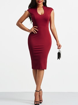 Ericdress Burgundy Ladylike Sexy Sleeveless Bodycon Dress