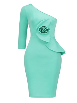 Ericdress Oblique Collar Asymmetric Applique Women's Bodycon Dress