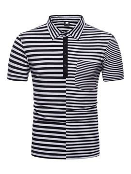 Men's Clothing Tops Black Stripe Color Blcok Polo T Shirt