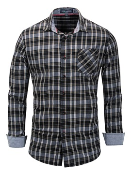 Ericdress Plaid Patchwork Lapel Slim Fit Mens Casual Shirts