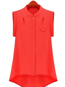 Ericdress Women's Plain Single-Breasted Sleeveless Blouse