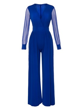 Ericdress Plain Mesh Full Length Wide Legs Slim Jumpsuit