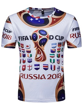 Men's Clothing White Russia World Cup Designed T Shirt