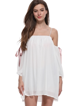 Ericdress White Spaghetti Strap Lace-Up Simple Casual Dress