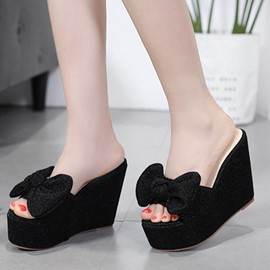 Ericdress bowknot Slip-On Wedge Mules Shoes