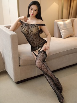 Ericdress Leopard Slash Neck Mesh Sexy Pantyhose Body Stocking