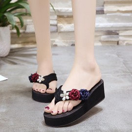 Ericdress Rhinestone Appliques Platform Mules Shoes with Beads
