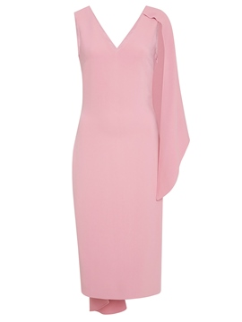 Ericdress Pink V-Neck Asymmetric Backless Patchwork Bodycon Dress