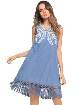 Ericdress Fringe Embroidery Sleeveless A-Line Dress
