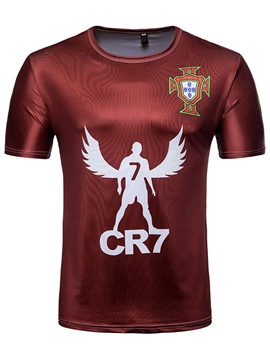 Men's Clothing Burgundy Letter Print World Cup Designed T Shirt