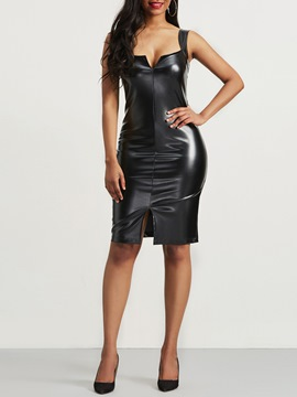 Ericdress Plain Spaghetti Strap Sheath Dress