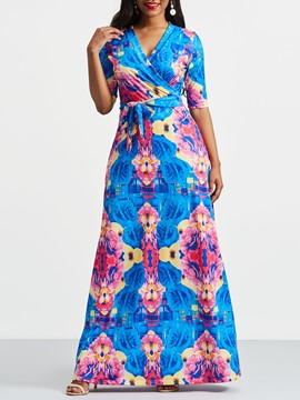 Ericdress V-Neck Floral Color Block Maxi Dress