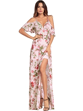 Ericdress Floral Cold Shoulder Split V-Neck Maxi Dress