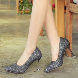 Ericdress Sequin Slip-On Pointed Toe Spool Heel Pumps