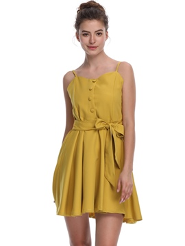 Ericdress Yellow Spaghetti Strap Button Lace-up A-Line Dress