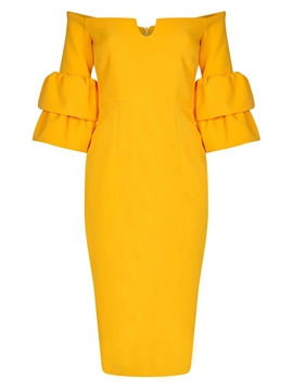 Ericdress Yellow Ruffles Backless Strapless Bodycon Dress