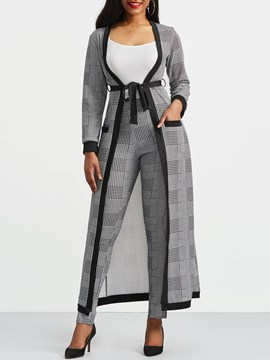 Ericdress Vest Trench Coat and Pants Women's Suit