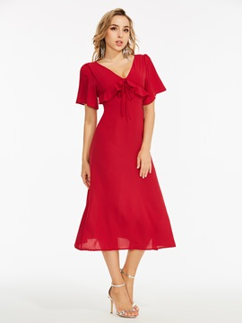 Ericdress Red Ruffles Hollow Zipper A-LIne Dress