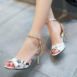 Ericdress Floral Print Peep Toe Stiletto Sandals with Sequin