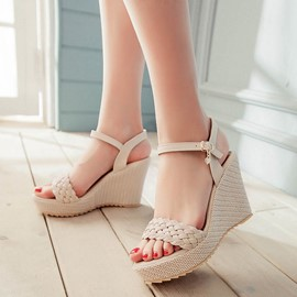 EricdressWoven Platform Ankle Strap Wedge Sandals