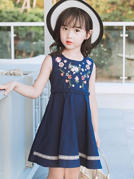 Ericdress Embroidery Floral Print Girl's Sleeveless Dress