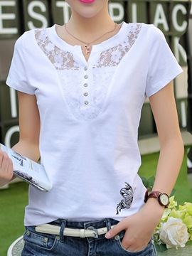 Ericdress Slim Cotton Patchwork Lace Tee Shirt