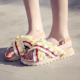 Ericdress Tassel Pompon Sewing Patchwork Platform Mules Shoes